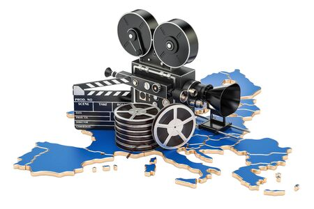 European cinematography, film industry concept. 3D rendering isolated on white background