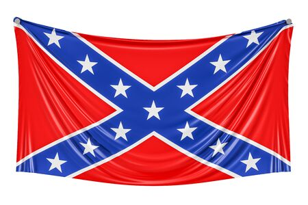 Flag of the Confederate States of America hanging on the wall, 3D rendering Stock Photo