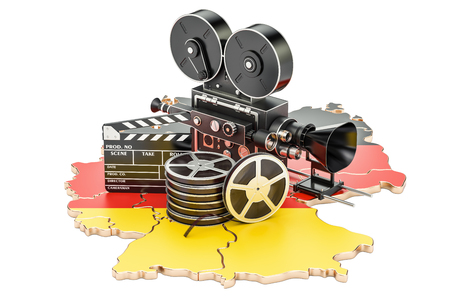 German cinematography, film industry concept. 3D rendering isolated on white background