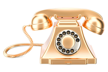 Golden retro phone, 3D rendering isolated on white background Stock Photo