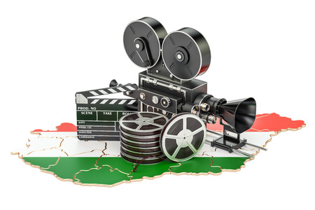 Hungarian cinematography, film industry concept. 3D rendering isolated on white background Stock Photo