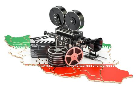 Iranian cinematography, film industry concept. 3D rendering isolated on white background Stock Photo