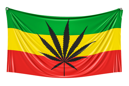 Rasta Flag, Cannabis leaf on Rastafarian flag hanging on the wall, 3D rendering Stock Photo
