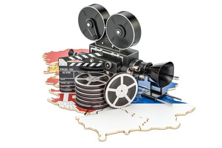 Serbian cinematography, film industry concept. 3D rendering isolated on white background