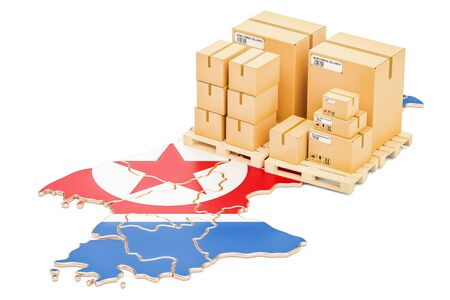 Shipping and Delivery from North Korea isolated on white background Stock Photo