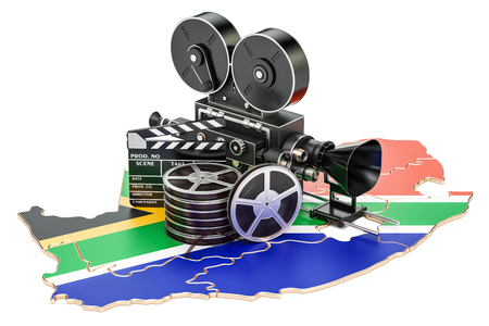 South Africa cinematography, film industry concept. 3D rendering isolated on white background Imagens - 88167586