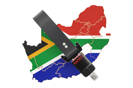 South Africa map with safety belt. Security and protect or insurance concept, 3D rendering Stock Photo