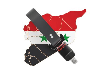 Syrian map with safety belt. Security and protect or insurance concept, 3D rendering