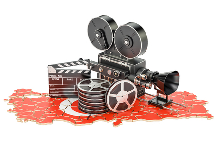 Turkish cinematography, film industry concept. 3D rendering isolated on white background