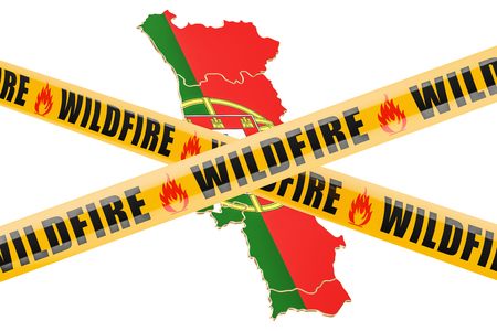 Wildfire in Portugal concept, 3D rendering isolated on white background