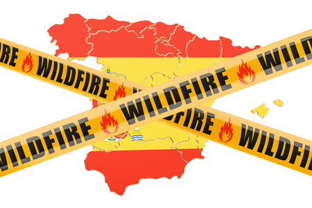 Verheerendes Feuer in Spanien-Konzept, Wiedergabe 3D lokalisiert auf weißem Hintergrund Standard-Bild - 88167551