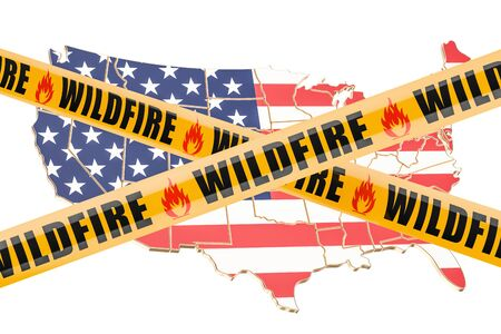 cordon: Wildfire in USA concept, 3D rendering isolated on white background