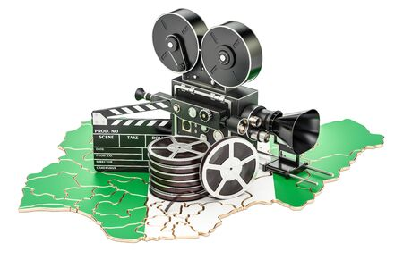 Nigerian cinematography, film industry concept. 3D rendering isolated on white background Stock Photo
