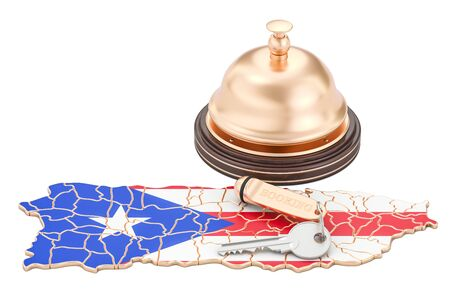 Puerto Rico booking concept. Flag with hotel key and reception bell, 3D rendering