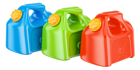 set of colored plastic jerrycans, 3D rendering isolated on white background Stock Photo