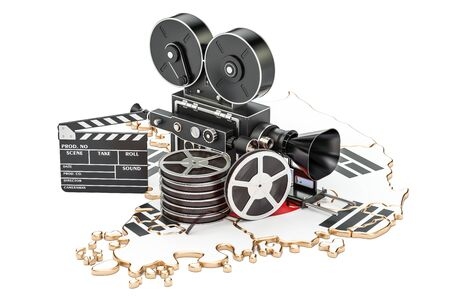South Korea cinematography, film industry concept. 3D rendering isolated on white background