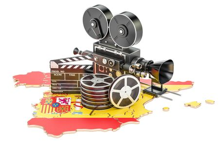 Spanish cinematography, film industry concept. 3D rendering isolated on white background Stock Photo