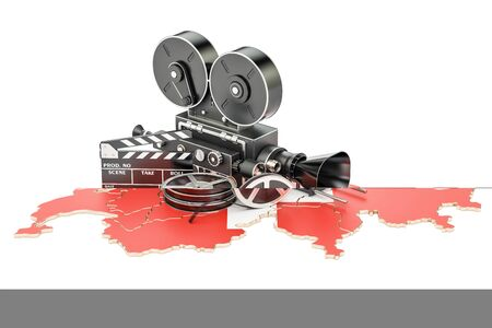 Swiss cinematography, film industry concept. 3D rendering isolated on white background Stock Photo