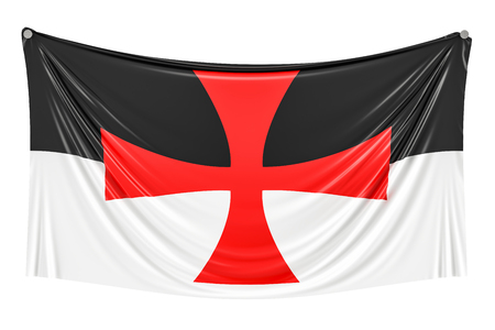 Templar knight flag hanging on the wall, 3D rendering