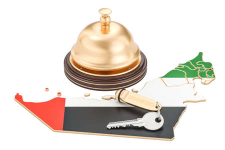 UAE booking concept. United Arab Emirates flag with hotel key and reception bell, 3D rendering
