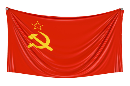 USSR flag hanging on the wall, 3D rendering