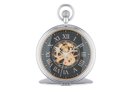 Reloj de bolsillo de oro vintage con esfera negra, representación 3D aislada en el fondo blanco Foto de archivo