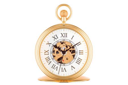 Reloj de bolsillo de oro de la vendimia, representación 3D aislada en el fondo blanco Foto de archivo