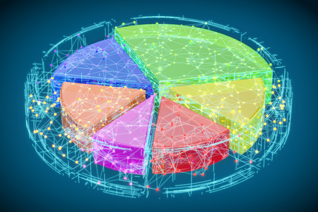 Abstract Colored Pie Chart, 3D rendering