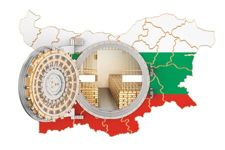 Golden reserves of Bulgaria concept, banking vault with gold bars. 3D rendering isolated on white background
