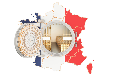 Golden reserves of France concept, banking vault with gold bars. 3D rendering isolated on white background
