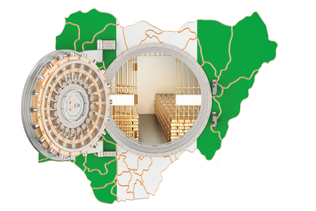 Golden reserves of Nigeria concept, banking vault with gold bars. 3D rendering isolated on white background