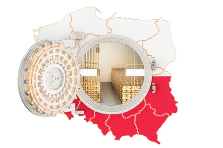 bandera de polonia: Golden reserves of Poland concept, banking vault with gold bars. 3D rendering isolated on white background Foto de archivo
