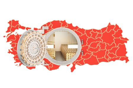 Golden reserves of Turkey concept, banking vault with gold bars. 3D rendering isolated on white background