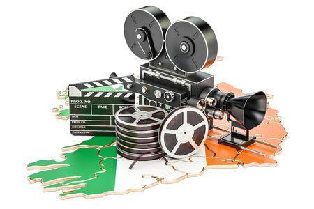 Irish cinematography, film industry concept. 3D rendering isolated on white background