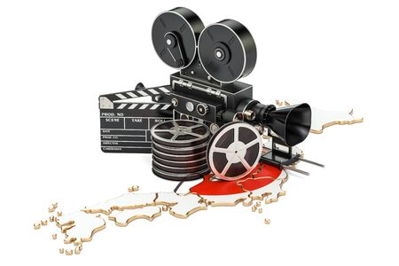Japanese cinematography, film industry concept. 3D rendering isolated on white background