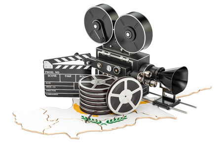 Cyprus cinematography, film industry concept. 3D rendering isolated on white background