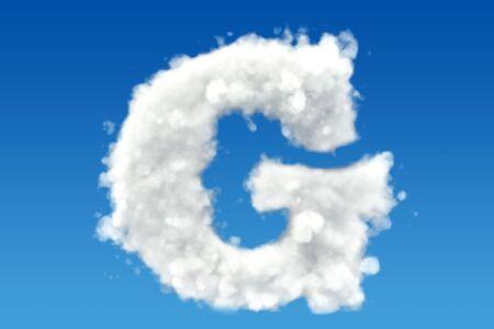 문자 G, 하늘에 구름에서 알파벳. 3D 렌더링