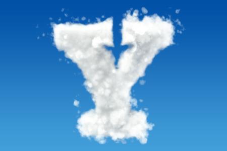 Letter Y, alfabet van wolken in de lucht. 3D-rendering Stockfoto