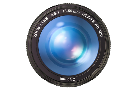 Photography camera lens, 3D rendering isolated on white background Banco de Imagens