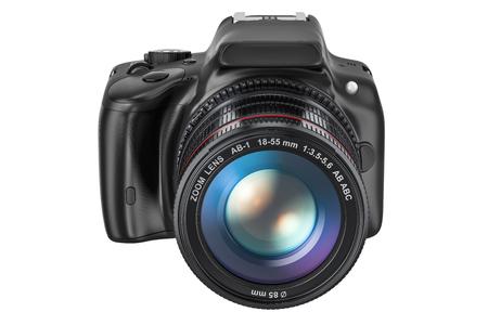 Digital single-lens reflex camera, 3D rendering isolated on white background