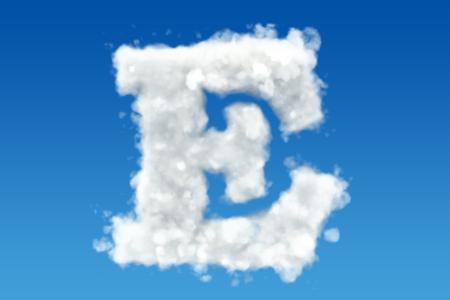 Letter E, alfabet van wolken in de lucht. 3D-rendering Stockfoto