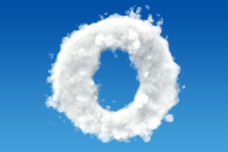 Letter O, alphabet from clouds in the sky. 3D rendering