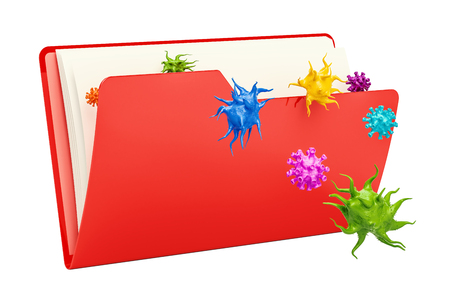 Computer folder icon with virus, 3D rendering isolated on white background