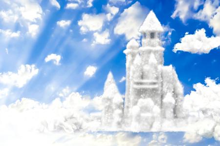 幻想の城 3 D 空で雲からのレンダリング 写真素材