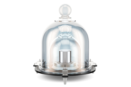 International prototype kilogram with protective double glass bell, 3D rendering