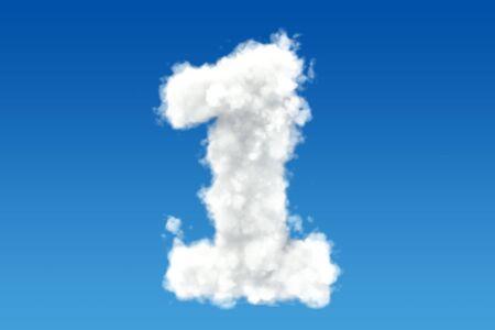 하늘에 구름에서 번호 1입니다. 3D 렌더링