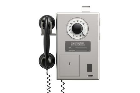 公衆電話、3 D の分離の白い背景を描画 写真素材