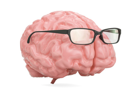 Brain with glasses, smart concept. 3D rendering