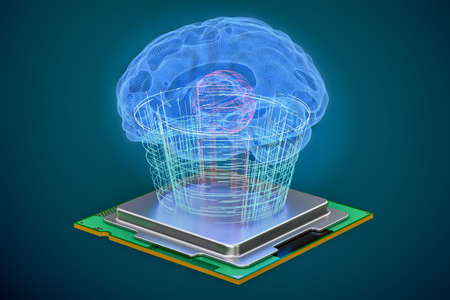 thinking machines: Artificial intelligence computer technology concept. Human brain with cpu processor, artificial intelligence concept. 3D rendering Stock Photo