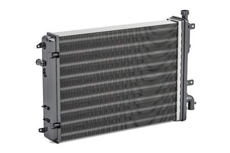 Car radiator closeup, 3D rendering isolated on white background